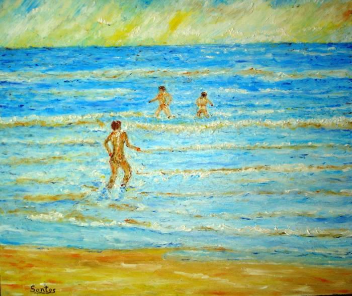 Niños bañándose en la playa José Rodelgo Santos- Artelista.com
