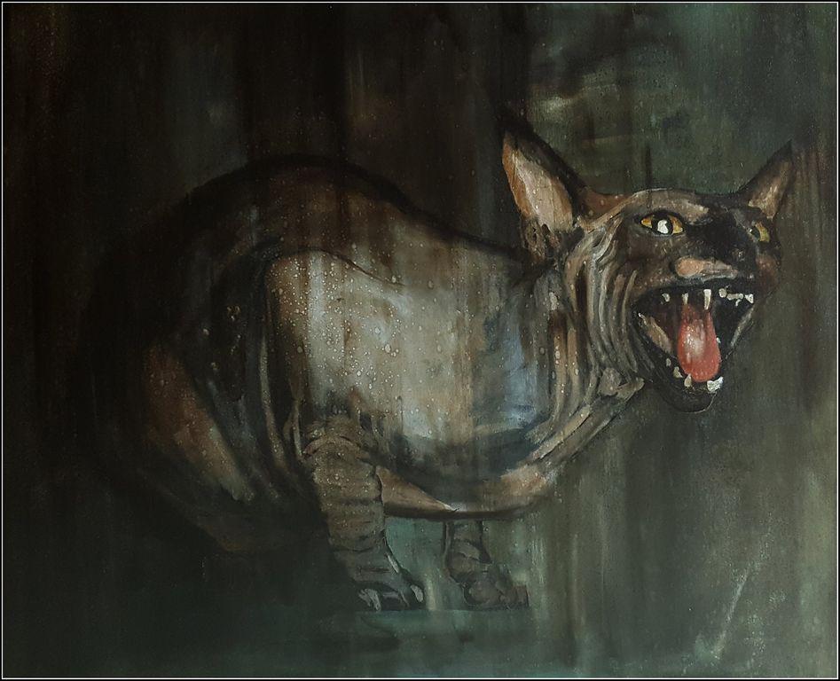 Sphynx Canvas Mixed media Animals