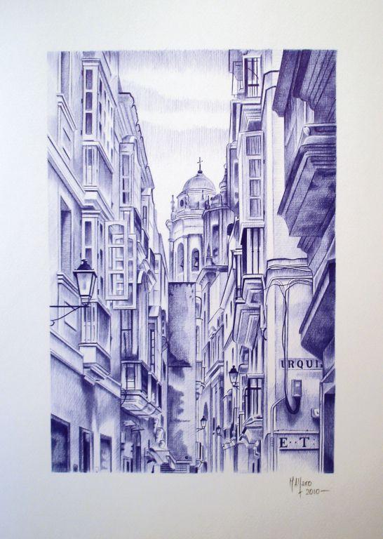 Dibujo a bolgrafo BIC La calle Compaa miguel angel alfaro rey