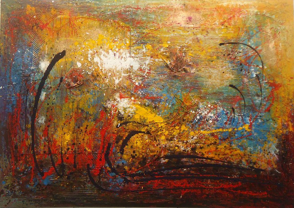 Paisaje abstracto 1 obander ceballos for Imagenes de cuadros abstractos con relieve