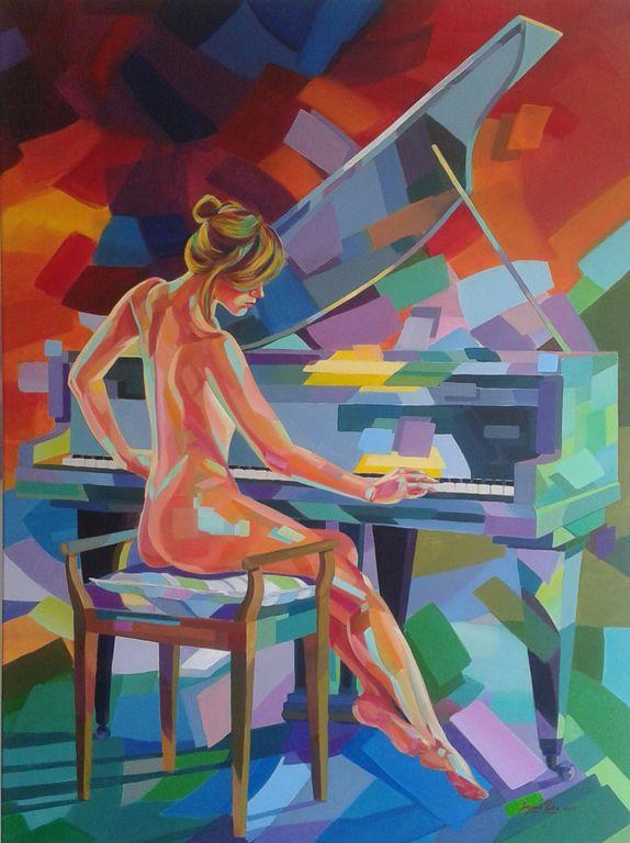 Pianista Lienzo Acrílico Figura