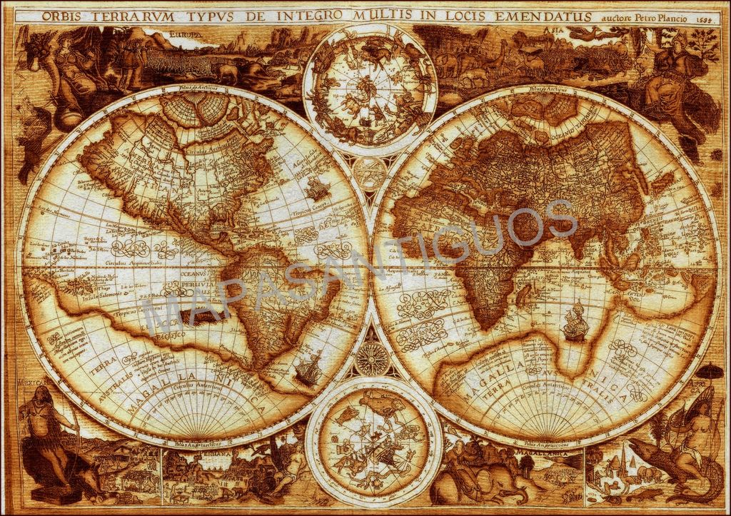 Mapamundi artstico Mapasantiguos Cartografa Antigua  Artelistacom