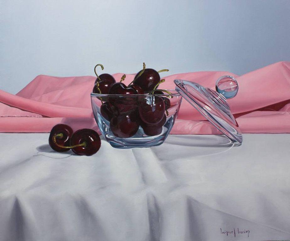 cerezas con paño rosa