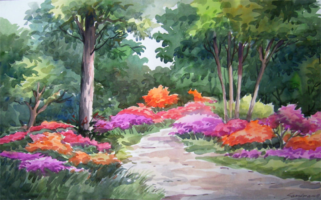 Flowers Garden U0026 Forest Landscaping Watercolour Paper