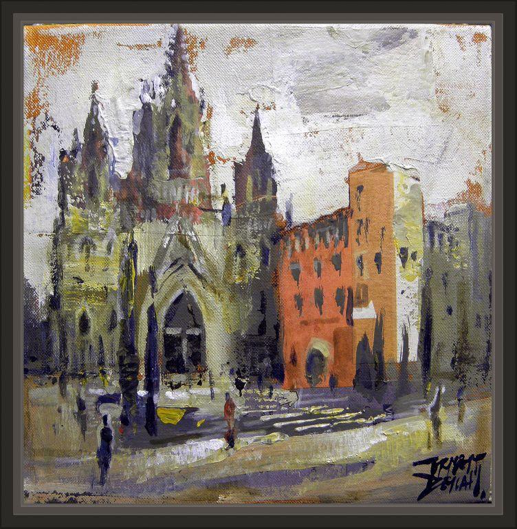 Catedral barcelona paisajes monumentos cuadros pintura - Trabajo de pintor en barcelona ...