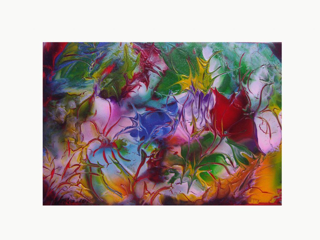 Pintura abstracta floral lidia stef - Cuadros de acrilico ...