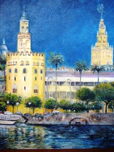 Torre del oro y giralda de sevilla iluminadas angel for Todo pintura sevilla