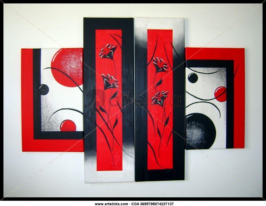 Triptico rojo y negro monica escalada for Imagenes de cuadros abstractos tripticos