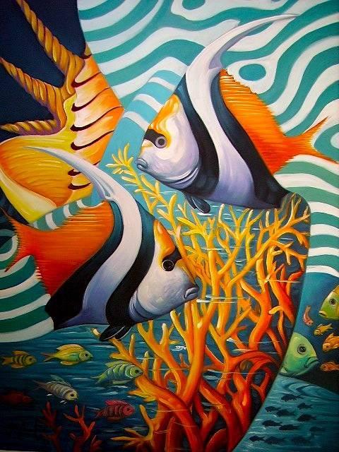 Danza entre corales jos hermitanho for Pintura para estanques de peces