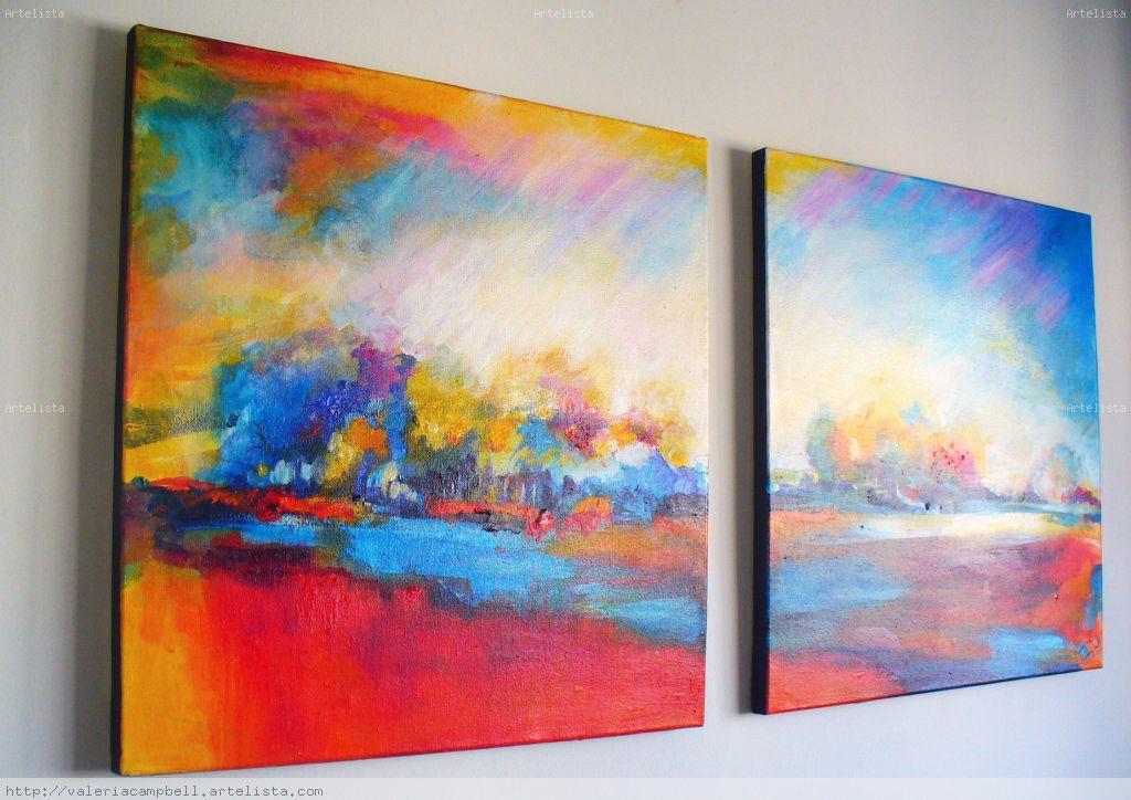 D ptico paisaje abstracto valeria campbell - Pinturas acrilicas modernas ...