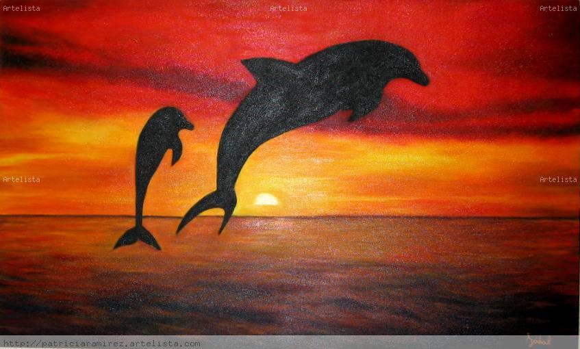 Delfines al atardecer patricia ramirez izabal - Cuadros con colores calidos ...