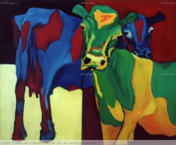 Vacas en colores marina navata - Cuadros de vacas ...