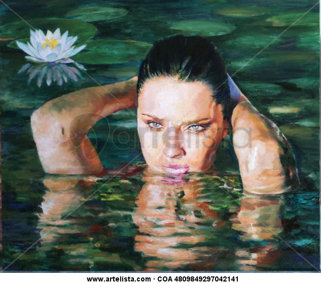 """""""FLOR DE LOTO"""" Panel Oil Figure Painting"""