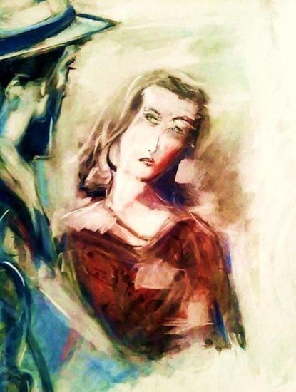 Bogart y Bacall Card Pastel Portrait