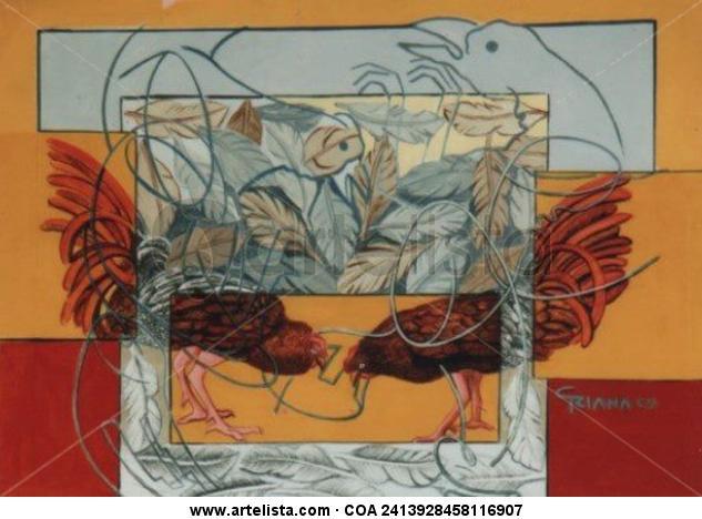 parte y contraparte Animales Media Mixta Lienzo