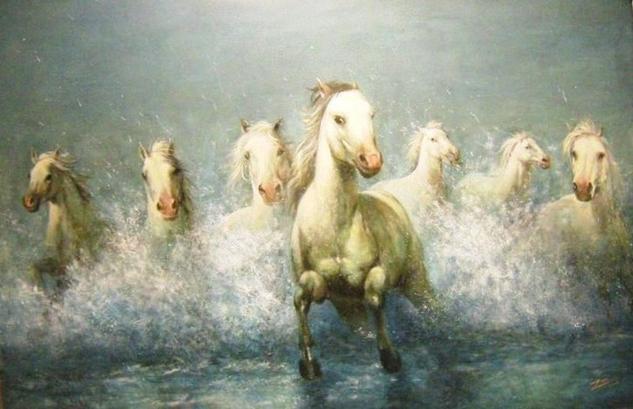 chevaux de camargue Lienzo Óleo Animales