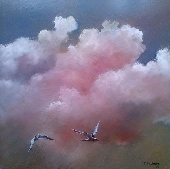 Nubes y gaviotas Paisaje Óleo Tabla