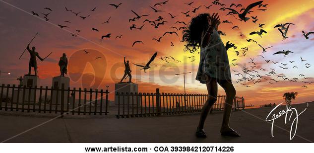 Birds in the boardwalk Color (Digital) Naturaleza