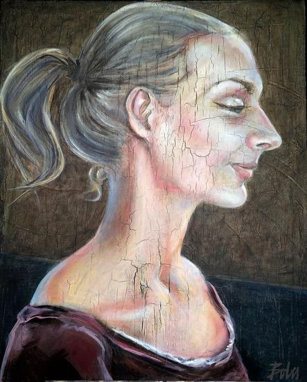 Vanesa de perfil Portrait Oil Canvas