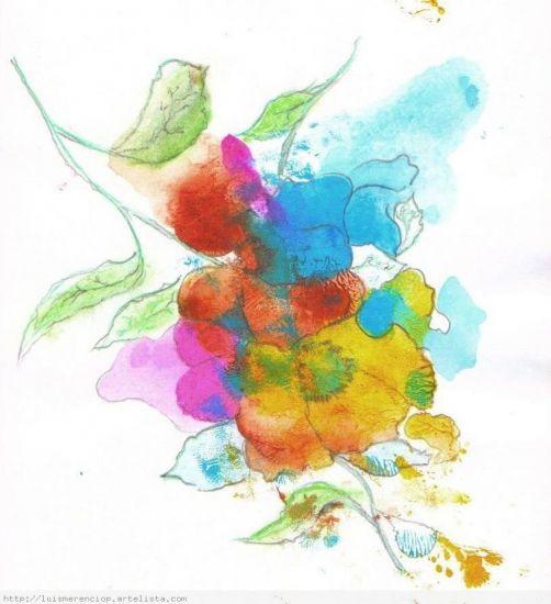 Flores imaginarias Acrílico Cartulina Floral