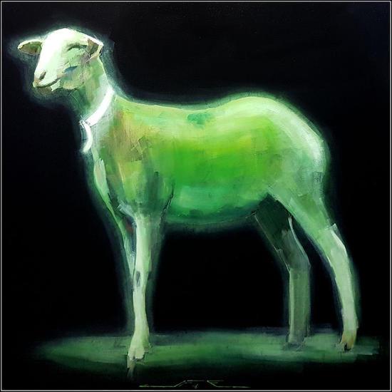 Oveja Verde Lienzo Media Mixta Animales