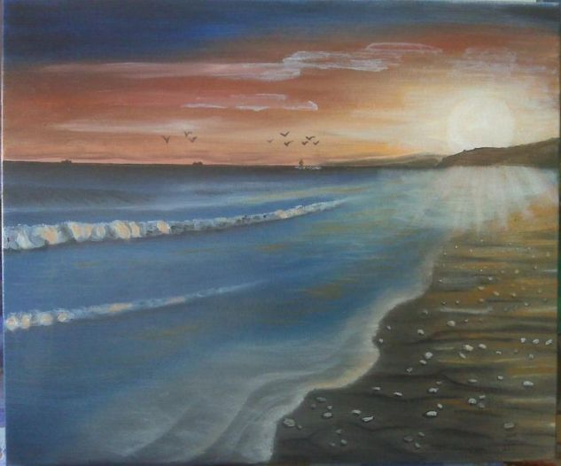 la puesta de sol  altafulla Lienzo Óleo Marina