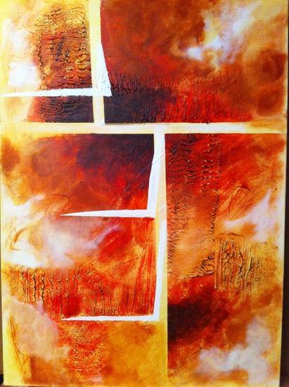 fuego abstracto Otros Acrílico Lienzo
