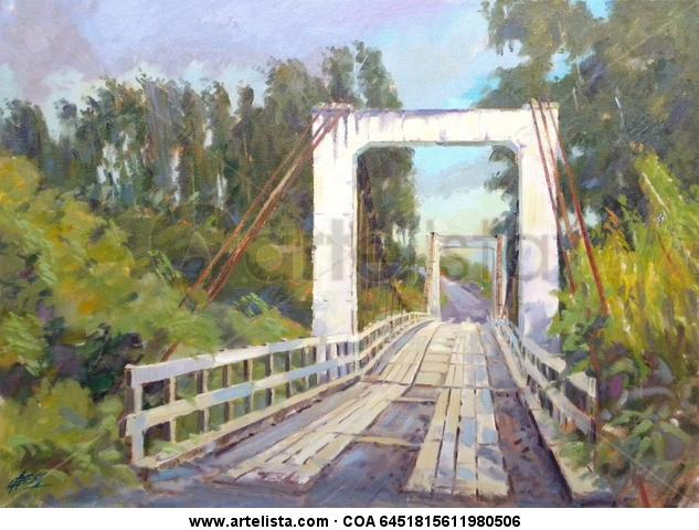 Puente Quilonco Lienzo Óleo Paisaje