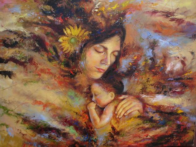 Maternidad cósmica Piel Óleo Figura