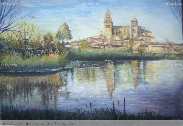 Vista de la Catedral de Salamanca sobre el rio Tormes. Otros Óleo Paisaje