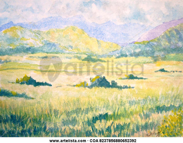 Valles de Aragua Cartulina Acuarela Paisaje