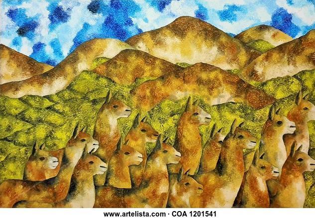 Las LLamas Perú Animales Acrílico Lienzo