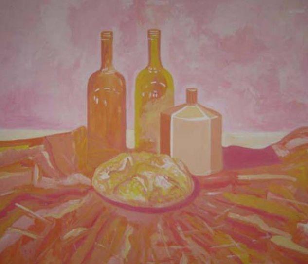 Pan y botellas Gouache Cartulina