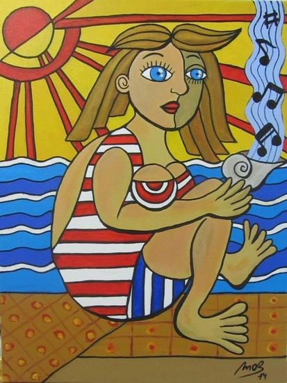 La chica y la música del mar Tela Acrílico Figura
