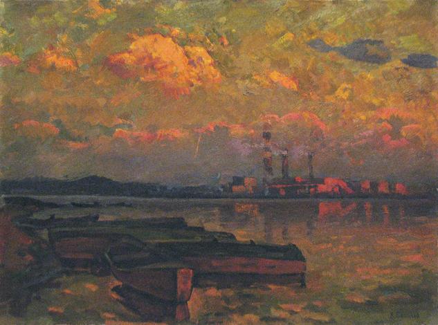Summer evening on the river Paisaje Óleo Lienzo
