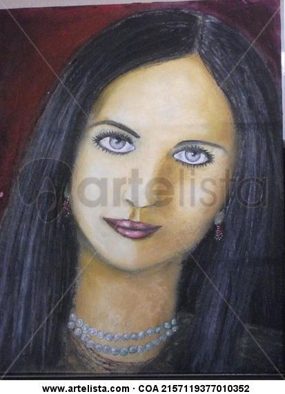 AMANDA LINDA PERLAS Portrait Card Oil