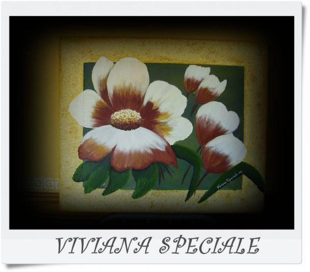 espatulado Acrílico Lienzo Floral