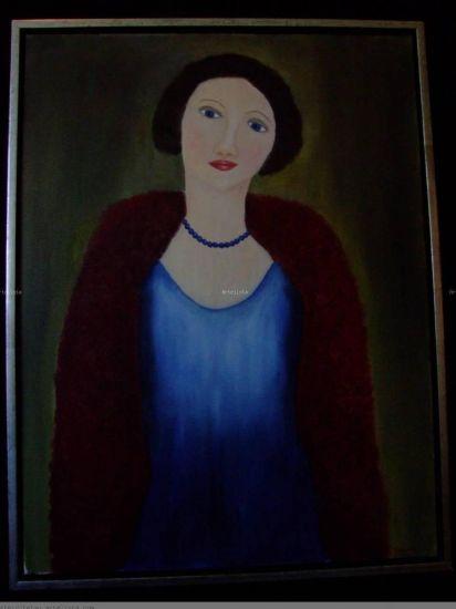 La Dama de Azul Óleo Lienzo Retrato