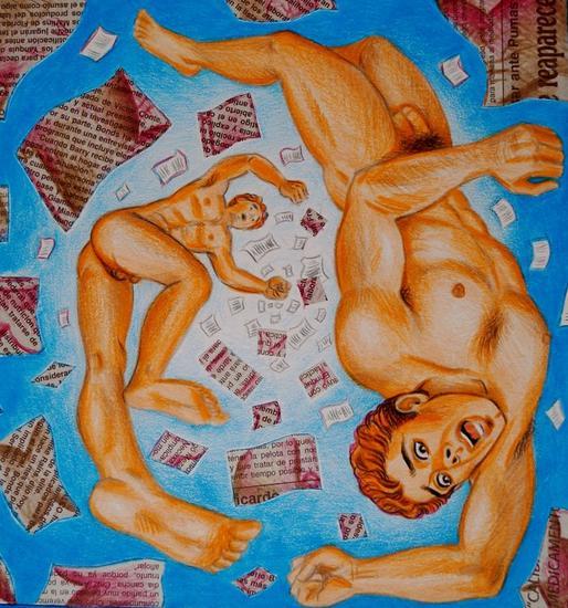 caída Piel Lápiz (a color) Figura