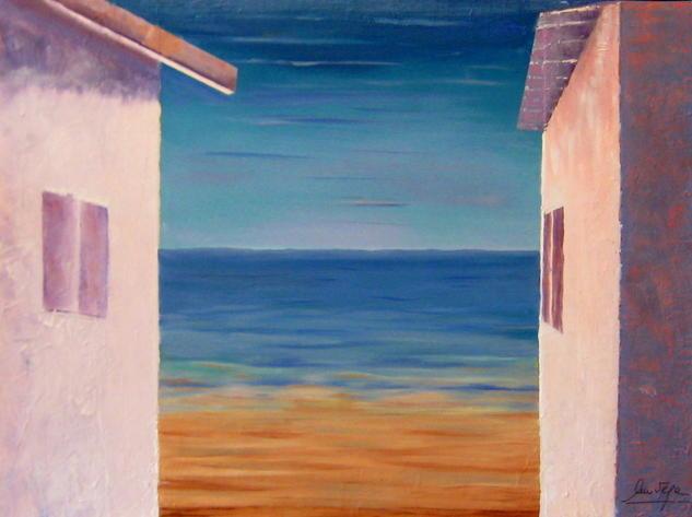 Casas y mar Lienzo Óleo Paisaje