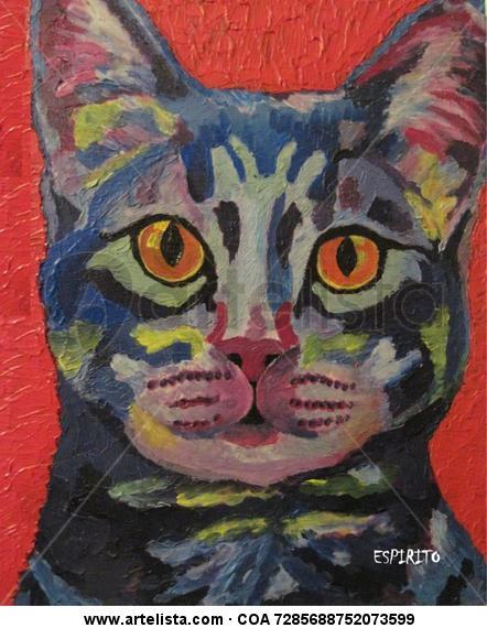 Gato Azul Lienzo Acrílico Animales