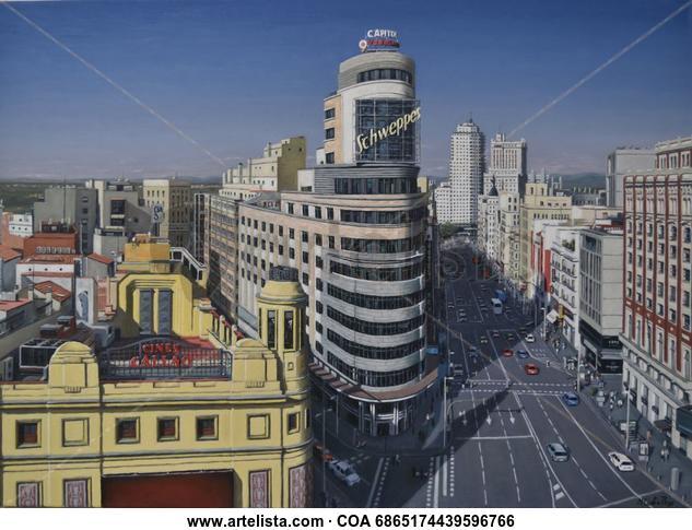 MADRID DESDE TERRAZA CORTE INGLES - CALLAO Y GRAN VIA Landscaping Oil Canvas