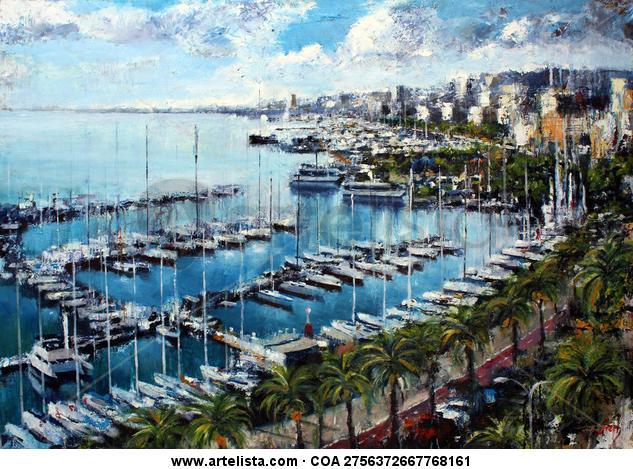 Paseo Maritimo de Palma Lienzo Óleo Marina