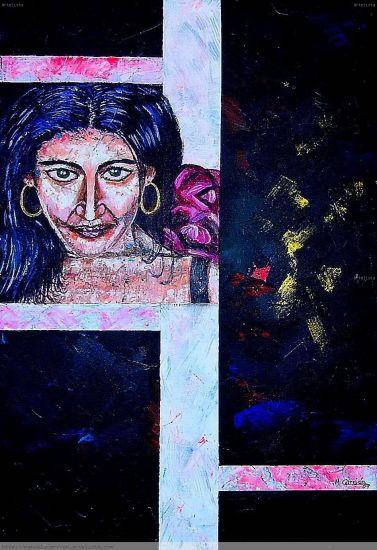 Mujer Gitana Figura Lienzo Acrílico
