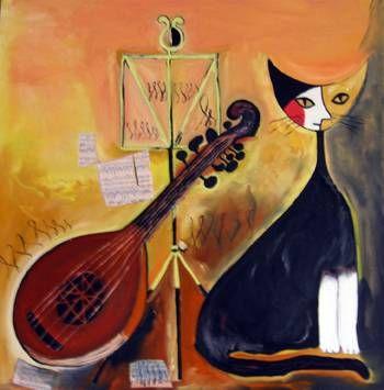 Gato guitarrista Oil Canvas Animals