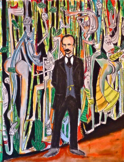 Jose Marti en la Jungla de Cuba Lienzo Retrato Pastel