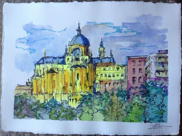 Catedral de La Almudena Paisaje Tinta Cartulina