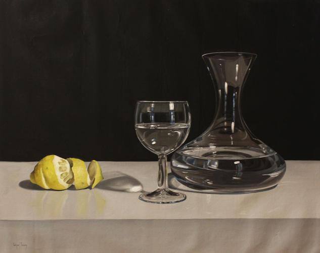 Limon , decantador y copa Lienzo Óleo Bodegones