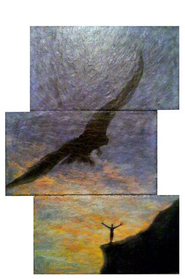 Aguilas en libertad Otros Óleo Animales