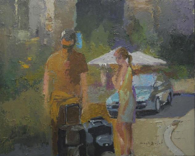 Dos personajes, coche y parasoles_65X54 cm. Paisaje Media Mixta Lienzo